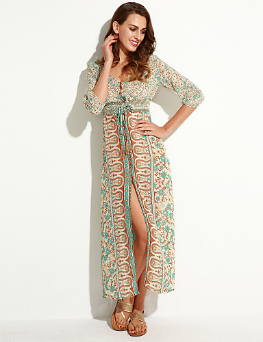 Women's Holiday Boho A Line Dress - Geometric Split / Print High Rise Maxi V Neck / Summer