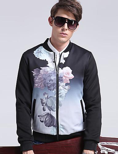 Masculino Jaqueta Casual / Formal / Trabalho Simples / Moda de Rua Todas as Estações,Floral Preto Algodão / Poliéster Colarinho Chinês-