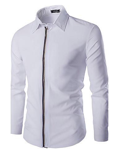 Heren Eenvoudig Lente / Herfst Overhemd,Casual/Dagelijks Effen Overhemdkraag Lange mouw Wit / Zwart Katoen Medium