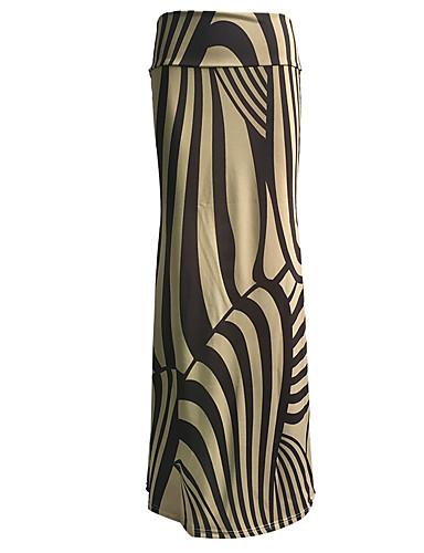 Jupes Aux femmes Maxi Grandes Tailles / simple Polyester / Spandex Elastique