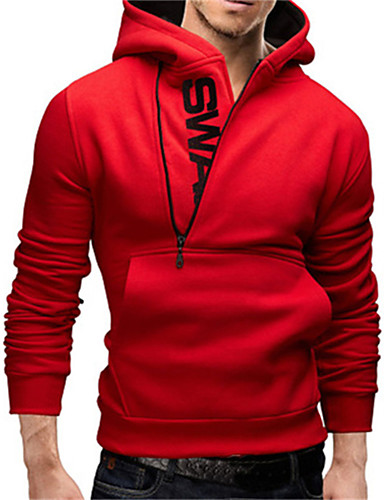cheap Men's Slogan & Letter Print Hoodies-Men's Plus Size Sports Casual / Active Long Sleeve Hoodie - Letter Blue 4XL / Spring / Fall / Winter