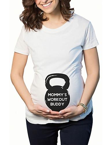 38c19324534 Εγκυμοσύνη T-shirt Καθημερινά Χαριτωμένο Μονόχρωμο,Κοντομάνικο ...