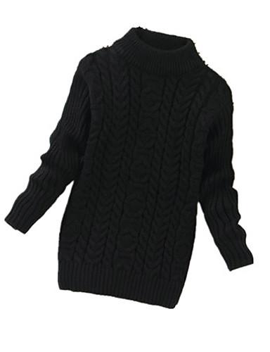 Menina de Suéter & Cardigan,Casual Cor Única Lã Inverno Preto / Rosa / Branco / Amarelo