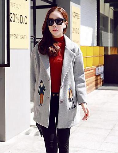 女性 カジュアル/普段着 冬 ソリッド コート,シンプル グレイ その他 長袖 ミディアム