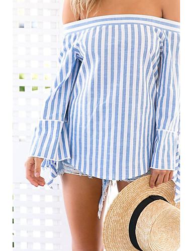 Naisten Venekaula-aukko Puuvilla T-paita, Raidoitettu