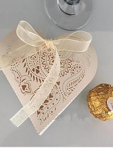 ハート型の真珠の紙好きのホルダー好きな箱 - 10結婚式の好意