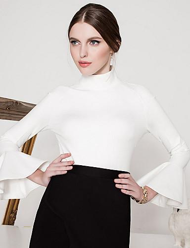 billige Topper til damer-Kjegle Erme Rullekrage T-skjorte Dame - Ensfarget, Drapering Vintage Ut på byen