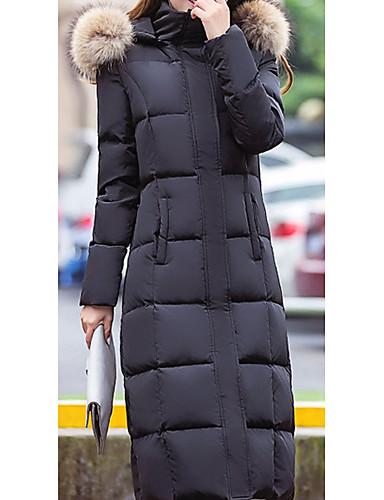 コート ロング ダウン 女性用,日常 ソリッド ポリエステル ホワイトダックダウン-カジュアル 長袖 フード付き