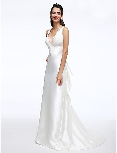 גזרת A צלילה שובל קורט סאטן שמלת חתונה עם תחרה קפלים על ידי LAN TING BRIDE®
