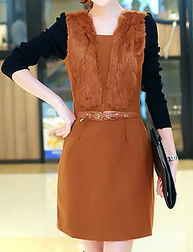 女性用 プラスサイズ シース ドレス ソリッド