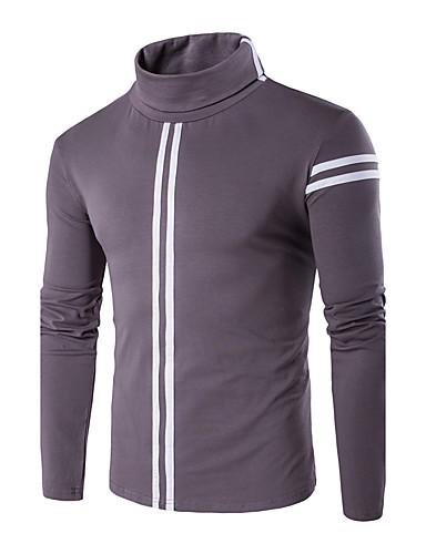 Bomull Tynn Langermet,Rullekrage T-skjorte Ensfarget Stripet Høst Vinter Enkel Fritid/hverdag Plusstørrelser Herre