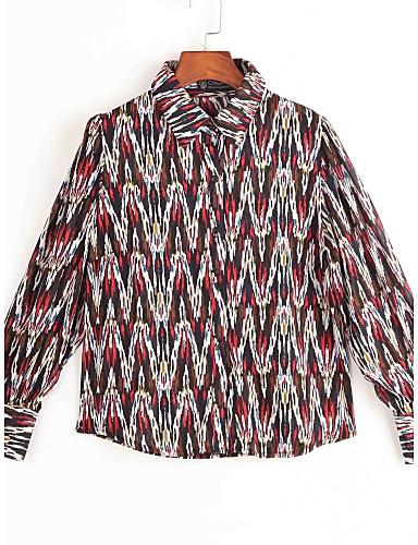 여성의 프린트 셔츠 카라 긴 소매 셔츠,스트리트 쉬크 캐쥬얼/데일리 블루 / 레드 폴리에스테르 봄 중간