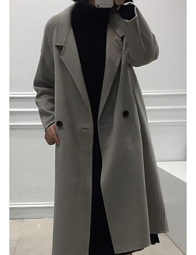 女性 お出かけ / パーティー / ホリデー 秋 / 冬 ソリッド コート,ストリートファッション シャツカラー ホワイト / グレイ ウール 長袖 ミディアム