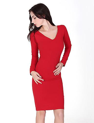 Bodycon Dress Fritid/hverdag Sexy Dame,Ensfarget V-hals Knelang Langermet Rød Bomull Høst Mellomhøyt liv Mikroelastisk Medium