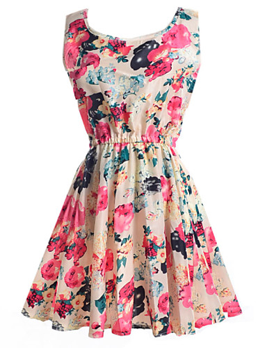 Women's Daily Cute Loose Sheath Skater Dress,Print Round Neck Above Knee Sleeveless Polyester Summer Mid Rise Micro-elastic Thin
