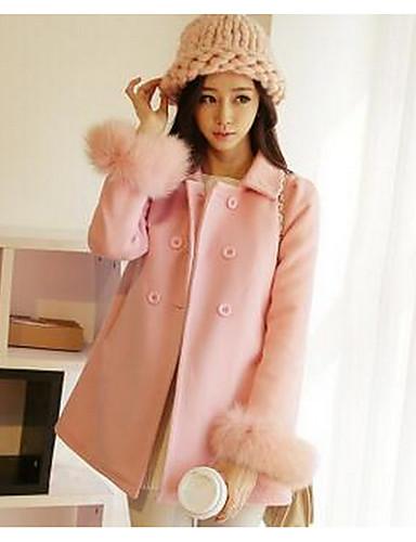 女性 お出かけ ソリッド コート,シンプル ブルー / ピンク コットン 長袖