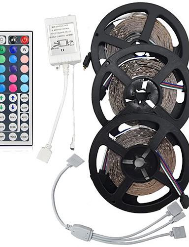 povoljno Rasvjeta-15m 3 * 5m 5050 rgb 450 LED traka fexible svjetlo vodio traka žarulja ne-vodootporan dc 12v 450leds s 44key ir daljinski upravljač kit