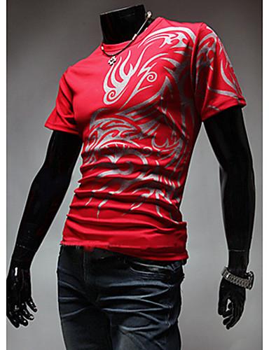 billige Herrers Moteklær-Bomull T-skjorte Herre - Ensfarget, Trykt mønster Fritid / Bohem Sport / Kortermet