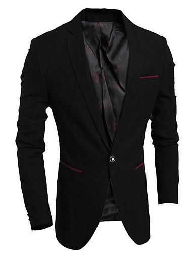 Polyester Normal Langermet,Skjortekrage Blazer Ensfarget Vår Høst Enkel Fritid/hverdag Herre