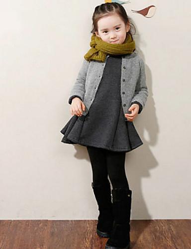 Girl's Winter/Spring/Fall Stretchy Medium Long Sleeve Dress (Cotton/Polyester)