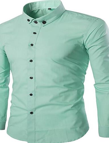Bomull Medium Langermet,Peter Pan-krage Skjorte Ensfarget Høst Sexy Søt Chinoiserie Bryllup Ut på byen Arbeid Herre
