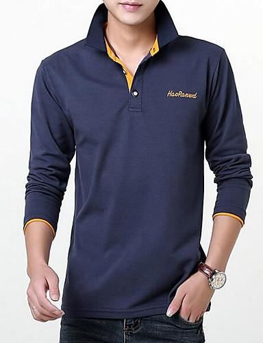 Bomull Medium Langermet,Skjortekrage T-skjorte Ensfarget Høst Vinter Enkel Ut på byen Herre