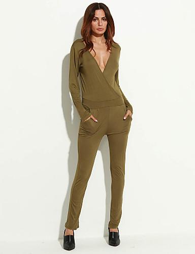 Dames Effen Casual/Dagelijks Eenvoudig Jumpsuits,Lange Mouw V-hals Polyester