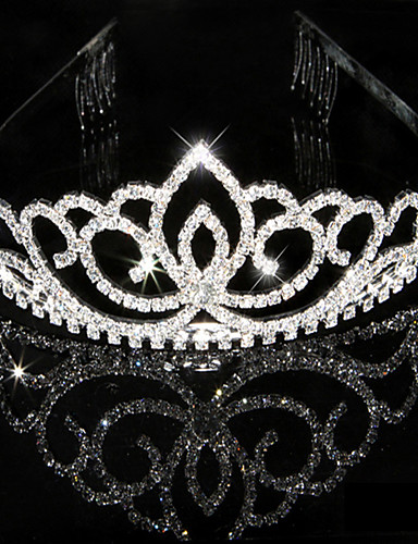 ราคาถูก มงกุฎ-ผู้หญิง พลอยเทียม คริสตัล หูฟัง-การแต่งงาน โอกาสพิเศษ กะบังหน้า