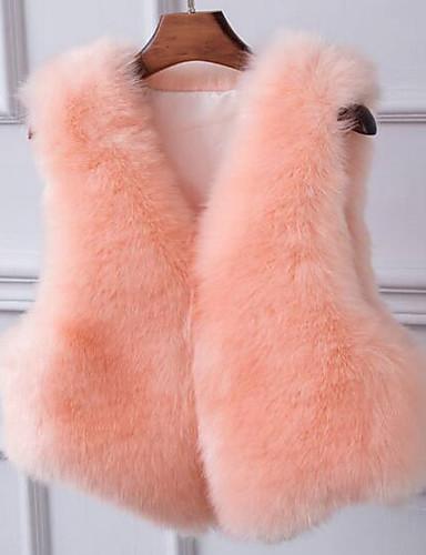 女性 カジュアル/普段着 ソリッド ファーコート,シンプル ピンク / ホワイト / ブラック / グレイ フェイクファー ノースリーブ