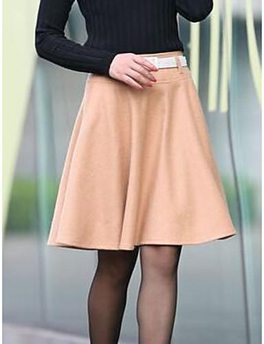 レディース シンプル Aライン カジュアル/普段着 膝丈 スカート プリーツ ゼブラプリント 秋 冬
