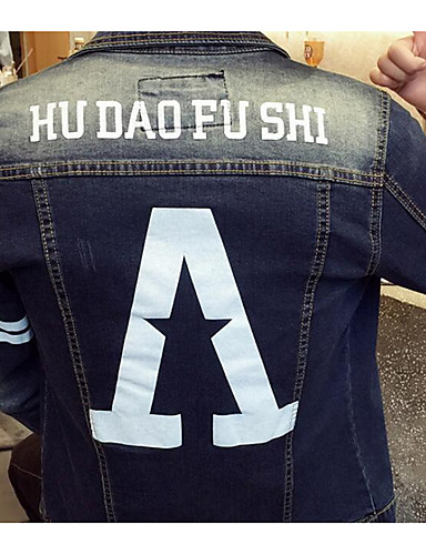 Denimstoff Skjortekrage Tynn Jakke - Bokstaver Aktiv Herre