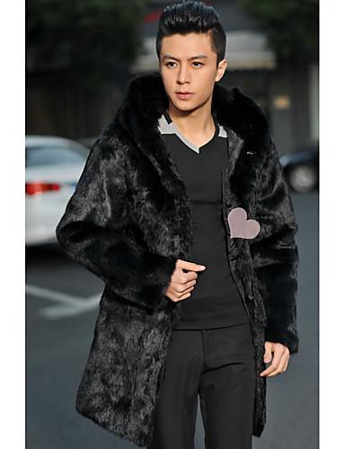 男性 お出かけ / カジュアル/普段着 冬 ソリッド ファーコート,ヴィンテージ / ストリートファッション ラウンドネック ブラック フェイクファー 長袖 ミディアム