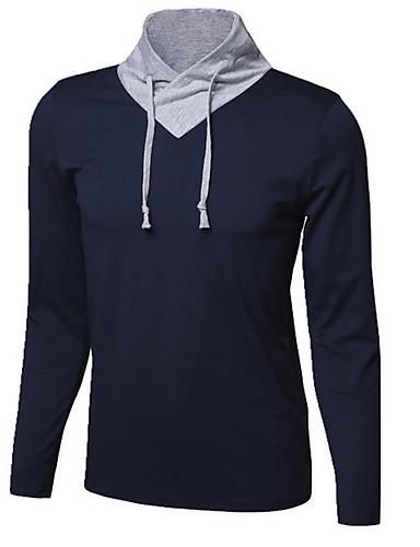 Bomull Blå / Hvit / Sort / Grå Medium Langermet,Turtleneck T-skjorte Ensfarget Høst Enkel Fritid/hverdag Herre