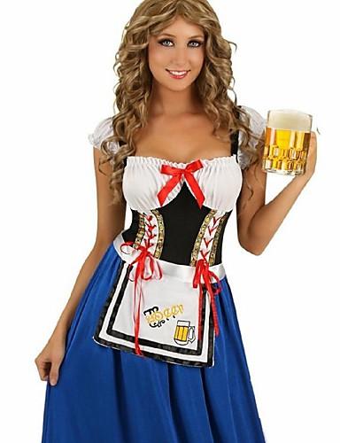 voordelige carrière Uniformen-Halloween Oktoberfest Dirndl Trachtenkleider Dames Kleding Bavarian Kostuum