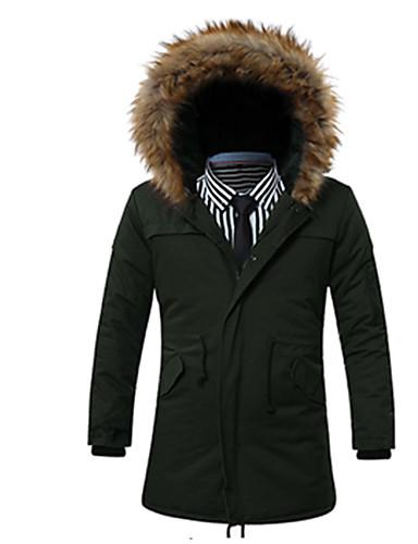 コート レギュラー パッド入り メンズ,お出かけ ビーチ ホリデー ソリッド コットン コットン-シンプル 長袖