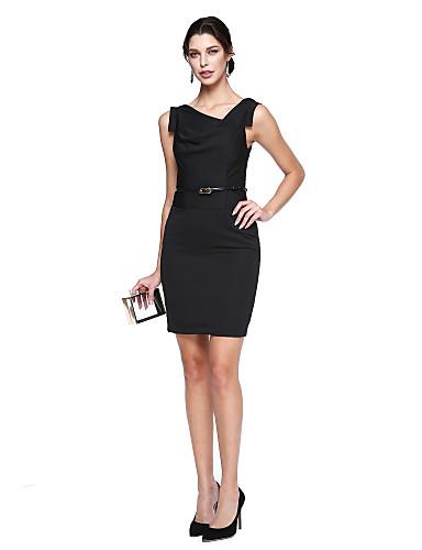 Tube / kolonne V-hals Knelang Elastisk sateng Liten svart kjole / Kjendisstil Cocktailfest / Skoleball Kjole med Belte / bånd av TS Couture®
