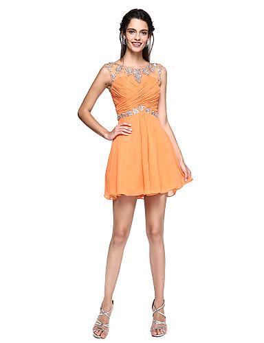 A-linje Trang og vid passform Illusjon Hals Kort / mini Chiffon Cocktailfest Kjole med Perlearbeid Kryssdrapering av TS Couture®