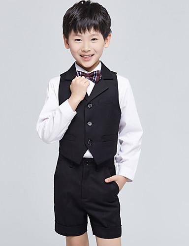 バーガンディー ブラック オーシャンブルー コットン リングベアラースーツ - 4 含まれています ベスト シャツ パンツ 蝶ネクタイ