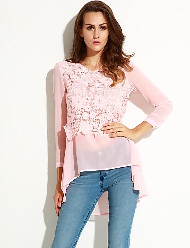 Mulheres Blusa - Para Noite Moda de Rua Renda, Retalhos Decote V / Outono / Rendas