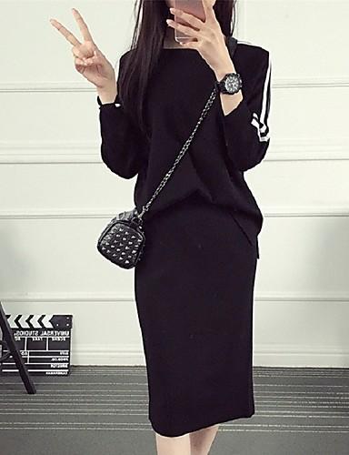 レディース カジュアル/普段着 春 秋 ブラウス スカート スーツ,シンプル ラウンドネック ストライプ 長袖