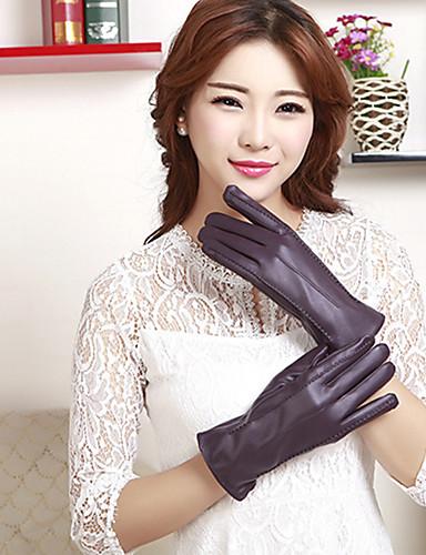 女性のPUの手首の長さがかわいい/パーティー/カジュアル冬のファッション暖かい手袋指先