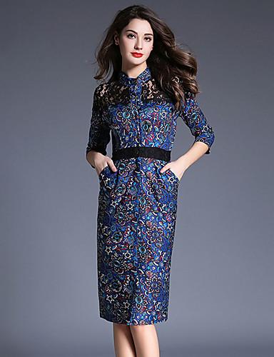 女性用 シース チュニック ドレス - プリント ハイライズ スタンド
