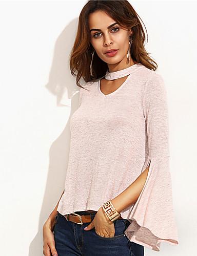 Polyester Rosa Medium Langermet,V-hals T-skjorte Ensfarget Vår / Høst Enkel / Gatemote Ut på byen / Fritid/hverdag Dame
