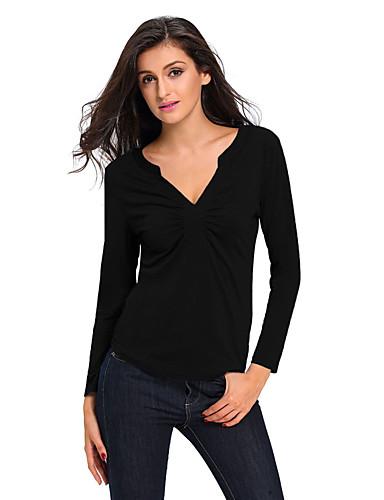 Polyester Spandex V-hals T-skjorte - Ensfarget Dame