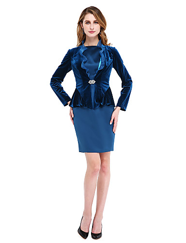 מעטפת \ עמוד בטו צוואר קצר \ מיני סאטן / קטיפה שמלה לאם הכלה  עם סיכה מקריסטל / קפלים על ידי LAN TING BRIDE®