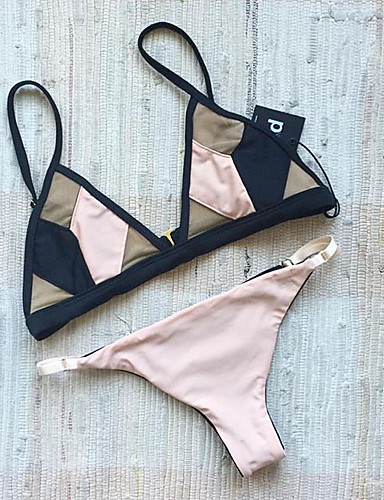 Mujer Bloque de Color Rosa Bikini Bañadores - Bloques Estilo moderno S M L / Sexy