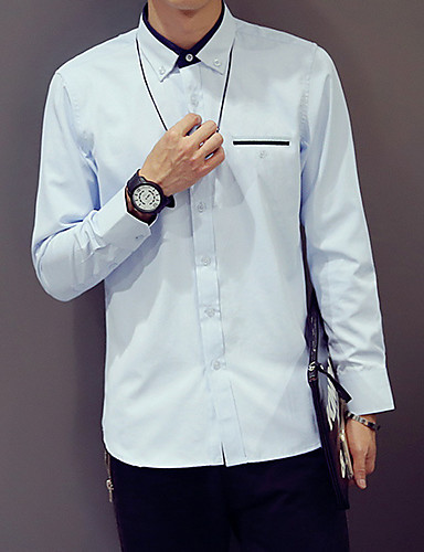 Bomull Blå / Hvit / Brun Medium Langermet,Skjortekrage Skjorte Ensfarget Høst Enkel / Gatemote Fritid/hverdag / Formelle Herre