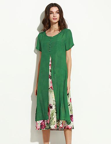 קיץ כותנה פשתן שרוולים קצרים מידי צווארון עגול פרחוני סגנון סיני יום יומי\קז'ואל שמלה משוחרר נשים,גיזרה בינונית (אמצע) קשיח