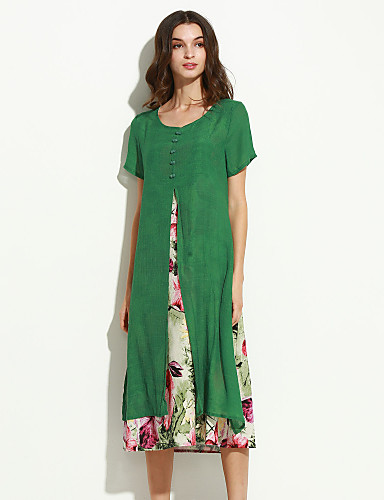 Damen Chinoiserie Lose Kleid Blumen Midi