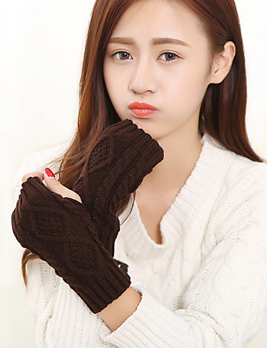 女性のニットの手首の長さの半分指かわいい/パーティー/カジュアル冬黒/グレー/ブラウン/白い手袋